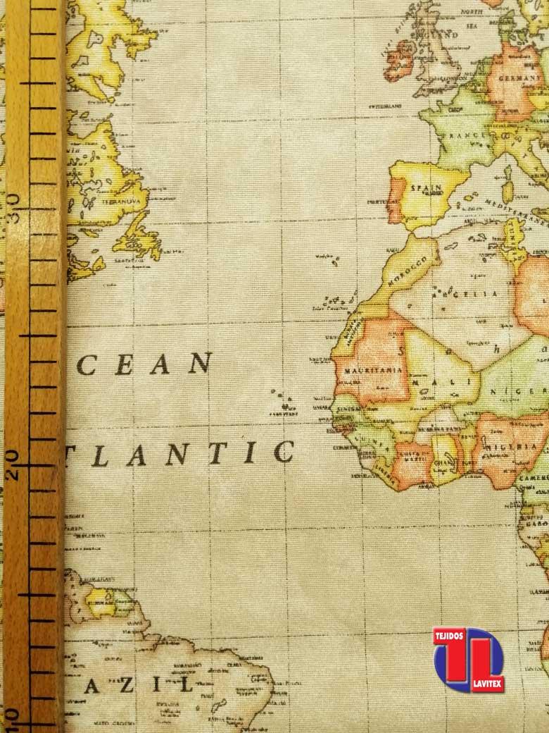 Loneta estampada Mapa Mundi. (280 cm 60%Alg. - 40% Pol.)